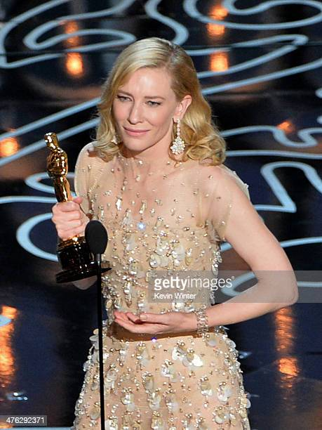 Actress Cate Blanchett accepts the Best Performance by an Actress in a Leading Role award for 'Blue Jasmine' onstage during the Oscars at the Dolby...