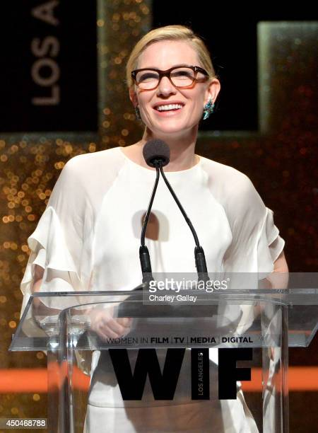 Actress Cate Blanchett accepts the Crystal Award for Excellence in Film onstage at Women In Film 2014 Crystal Lucy Awards presented by MaxMara BMW...