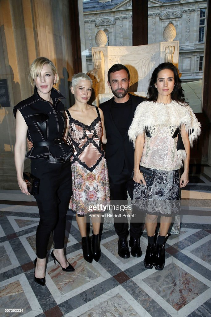 Actress Cate Blanchett, Actress Michelle Williams, Designer Nicolas Ghesquiere and Actress Jennifer Connelly attend the 'LVxKOONS' exhibition (Louis Vuitton and Jeff Koons Collaboration) at Musee du Louvre on April 11, 2017 in Paris, France.