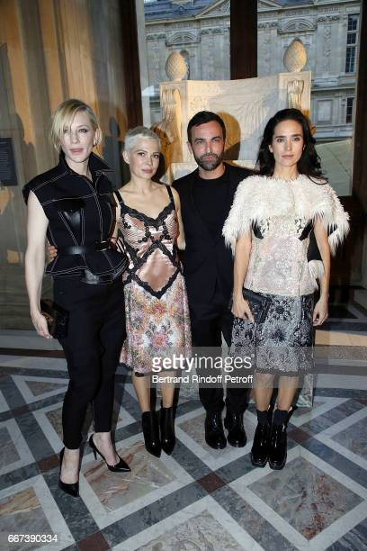 Actress Cate Blanchett Actress Michelle Williams Designer Nicolas Ghesquiere and Actress Jennifer Connelly attend the LVxKOONS exhibition at Musee du...
