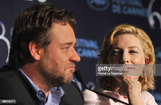 Actress Cate Blanchett and actor Russell Crowe attend the 'Robin Hood' Press Conference at the Palais des Festivals during the 63rd Annual Cannes...