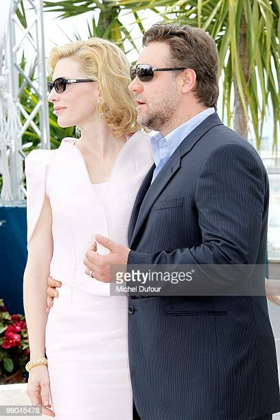 Actress Cate Blanchett and Actor Russell Crowe attends the 'Robin Hood' Photocall at the Palais des Festivals during the 63rd Annual Cannes Film...