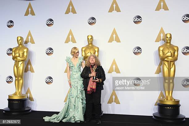 Actress Cate Blanchett and costume designer Jenny Beavan winner of Best Costume Design for 'Mad Max' pose in the press room during the 88th Annual...