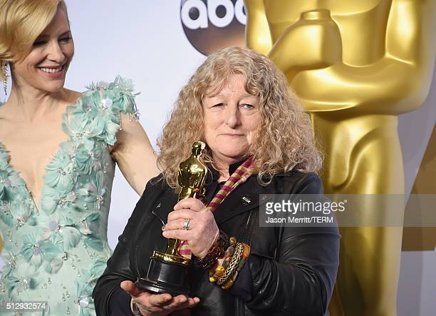 Actress Cate Blanchett and costume designer Jenny Beavan, winner of Best Costume Design for 'Mad Max,' pose in the press room during the 88th Annual...