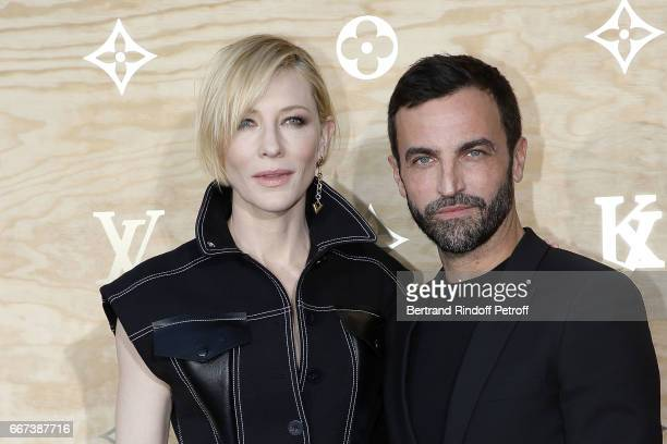 Actress Cate Blanchett and Designer Nicolas Ghesquiere attend the LVxKOONS exhibition at Musee du Louvre on April 11 2017 in Paris France