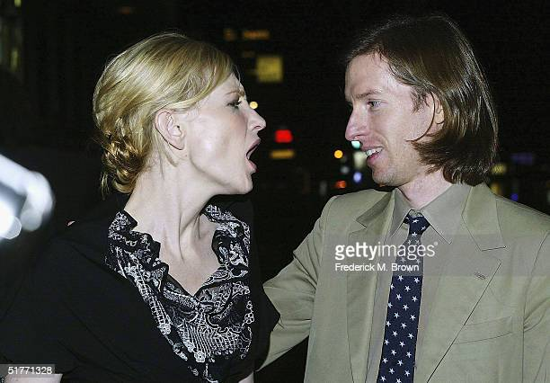"Actress Cate Blanchett and director Wes Anderson attend the film premiere of ""The Life Aquatic With Steve Zissou"" on November 20, 2004 at the Harmony..."