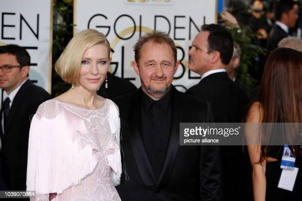 Actress Cate Blanchett and her husband Andrew Upton arrive for the 73rd Annual Golden Globe Awards at the Beverly Hilton Hotel in Beverly Hills...