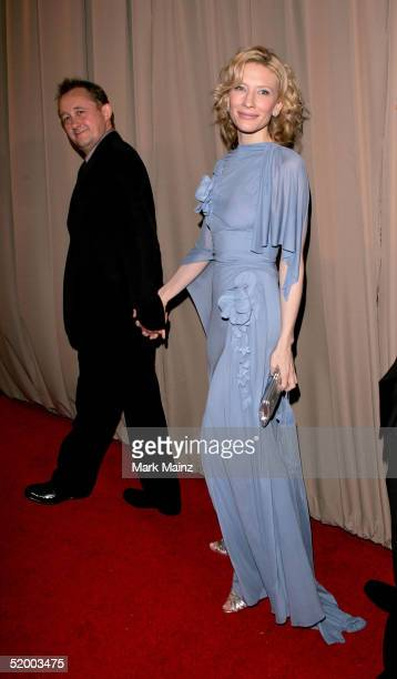 Actress Cate Blanchett and husband Andrew Upton arrive at the Miramax 2005 Golden Globes After Party at Trader Vics on January 16 2005 in Beverly...