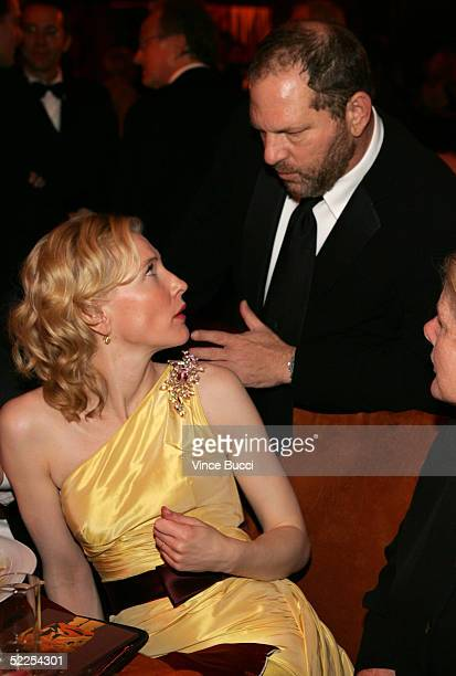 Actress Cate Blanchett and Miramax's Harvey Weinstein attend the Governors Ball after the 77th Annual Academy Awards at The Highlands on February 27...