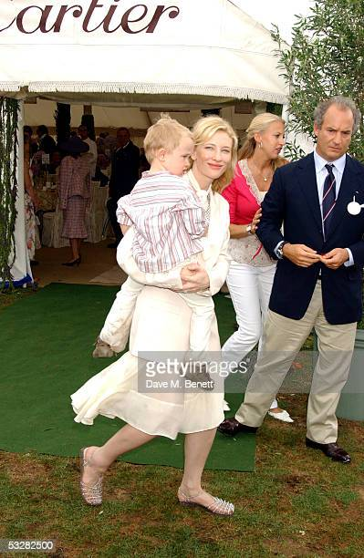 Actress Cate Blanchett and son Dashiell attend the Cartier International Day at Guards Polo Club Windsor Great Park on July 24 2005 in Windsor England