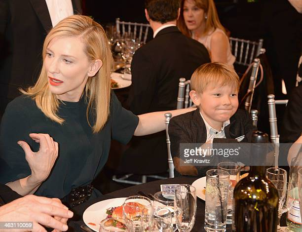 Actress Cate Blanchett and son Ignatius Martin Upton attend the 19th Annual Critics' Choice Movie Awards at Barker Hangar on January 16 2014 in Santa...