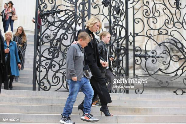 Actress Cate Blanchett and sons attend the Givenchy show as part of the Paris Fashion Week Womenswear Spring/Summer 2018 on October 1 2017 in Paris...