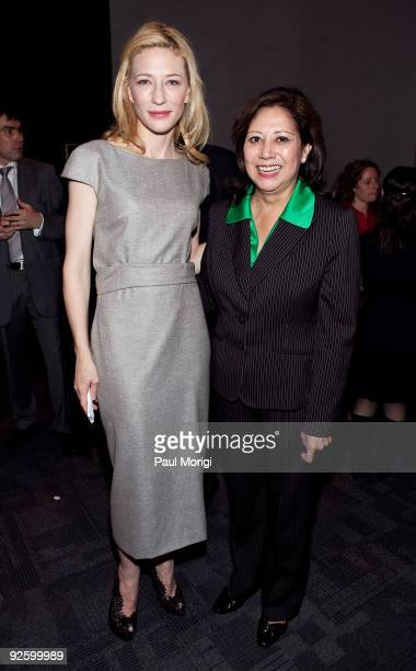 Actress Cate Blanchett and The Hon Hilda L Solis Secretary of Labor attend the A Street Car Named Desire Opening Night Reception hosted by the...