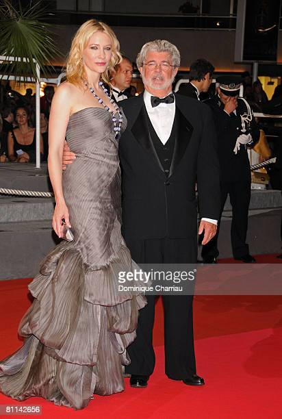 Actress Cate Blanchett and writer George Lucas attend the Indiana Jones and the Kingdom of the Crystal Skull premiere at the Palais des Festivals...