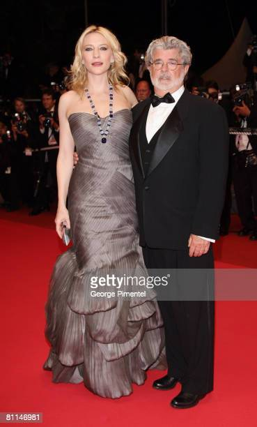 Actress Cate Blanchett and writer George Lucas depart from the 'Indiana Jones and the Kingdom of the Crystal Skull' premiere at the Palais des...