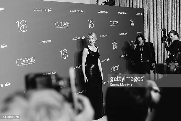 Actress Cate Blanchett arrives at the 18th Costume Designers Guild Awards at The Beverly Hilton Hotel on February 23 2016 in Beverly Hills California