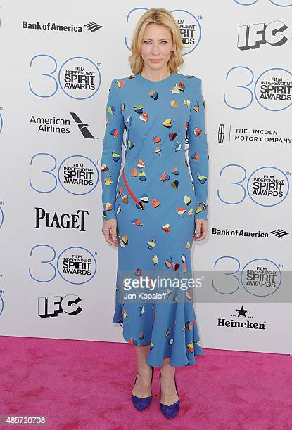 Actress Cate Blanchett arrives at the 2015 Film Independent Spirit Awards on February 21 2015 in Santa Monica California