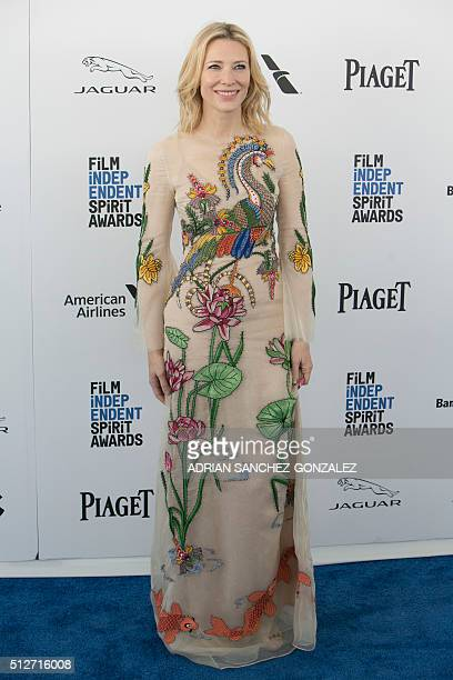 Actress Cate Blanchett arrives at the 2016 Independent Spirit Awards on Saturday February 2016 in Santa Monica California / AFP / ADRIAN...
