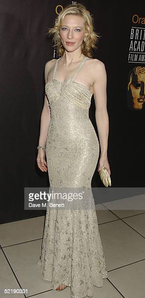 Actress Cate Blanchett arrives at The Orange British Academy Film Awards 2005 at the Odeon Leicester Square on February 12, 2005 in London.