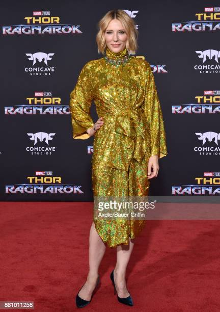 Actress Cate Blanchett arrives at the premiere of Disney and Marvel's 'Thor: Ragnarok' at the El Capitan Theatre on October 10, 2017 in Los Angeles,...