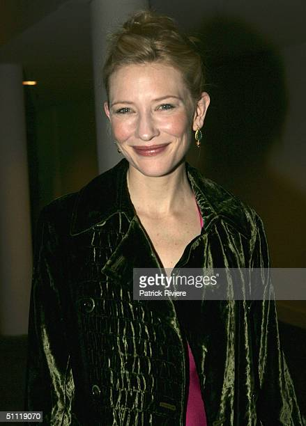 Actress Cate Blanchett arrives during the opening night party for Hedda Gabler at the Sydney Theatre Company July 27 2004 in Sydney Australia