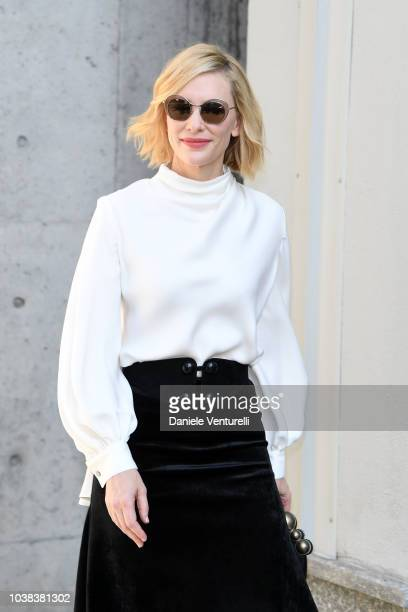 Actress Cate Blanchett arrives the Giorgio Armani show during Milan Fashion Week Spring/Summer 2019 on September 23 2018 in Milan Italy