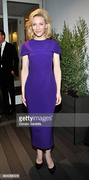 Actress Cate Blanchett attends an intimate toast to the Oscars hosted by Roberta Armani and Cate Blanchett on February 21 2015 in Beverly Hills...