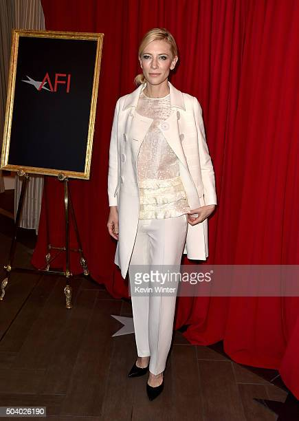 Actress Cate Blanchett attends the 16th Annual AFI Awards at Four Seasons Hotel Los Angeles at Beverly Hills on January 8 2016 in Beverly Hills...
