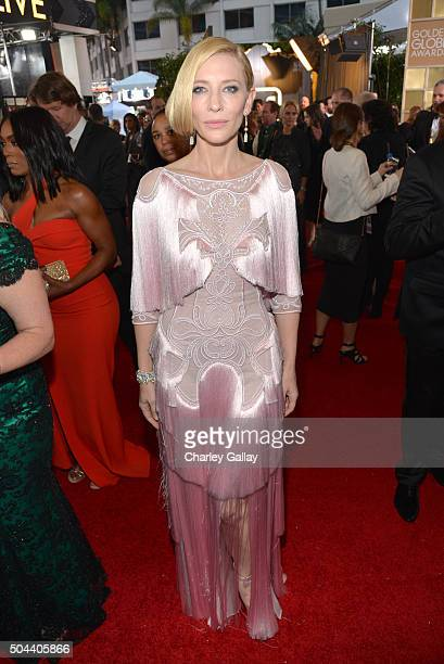 Actress Cate Blanchett attends the 73rd annual Golden Globe Awards sponsored by FIJI Water at The Beverly Hilton Hotel on January 10 2016 in Beverly...