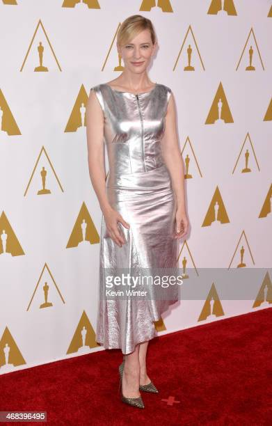 Actress Cate Blanchett attends the 86th Academy Awards nominee luncheon at The Beverly Hilton Hotel on February 10 2014 in Beverly Hills California