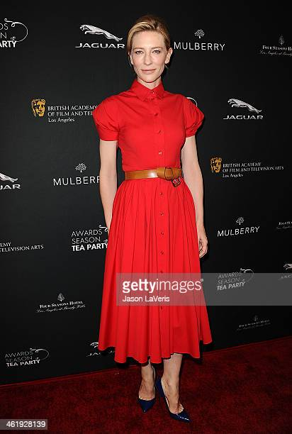 Actress Cate Blanchett attends the BAFTA LA 2014 awards season tea party at Four Seasons Hotel Los Angeles at Beverly Hills on January 11 2014 in...