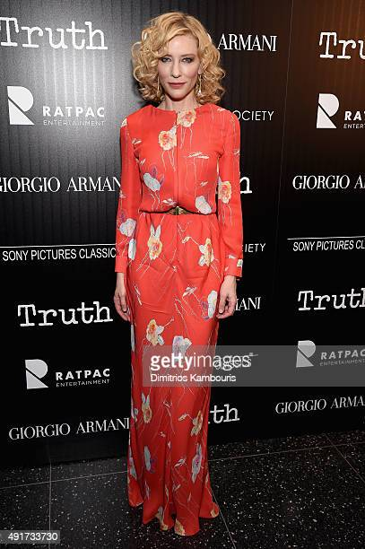 Actress Cate Blanchett attends the Giorgio Armani and Cinema Society screening of Sony Pictures Classics' 'Truth' at Museum of Modern Art on October...