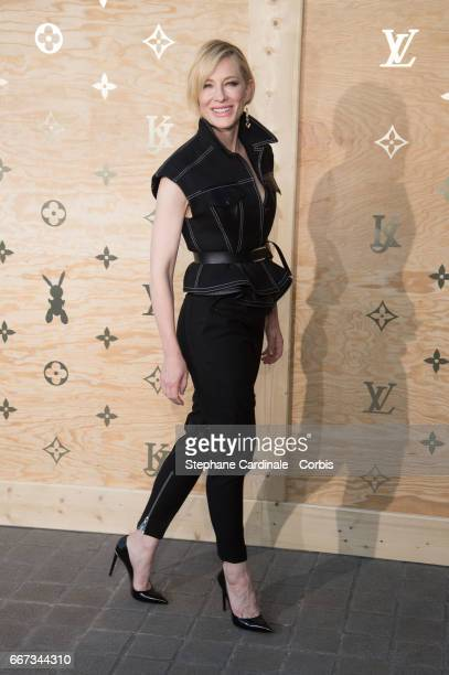 Actress Cate Blanchett attends the Louis Vuitton's Dinner for the Launch of Bags by Artist Jeff Koons at Musee du Louvre on April 11 2017 in Paris...