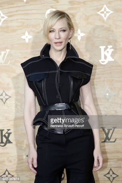 Actress Cate Blanchett attends the LVxKOONS exhibition at Musee du Louvre on April 11 2017 in Paris France