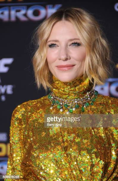 Actress Cate Blanchett attends the world premiere of Disney and Marvel's 'Thor Ragnarok' at El Capitan Theatre on October 10 2017 in Los Angeles...