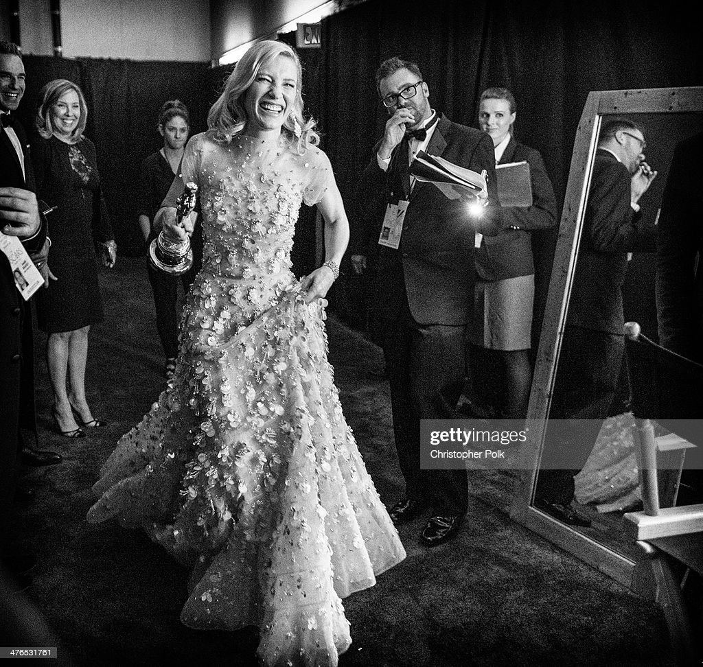 Actress Cate Blanchett backstage after winning the award for Best Actress in a Leading Role during 86th Annual Academy Awards held at Dolby Theatre on March 2, 2014 in Hollywood, California.