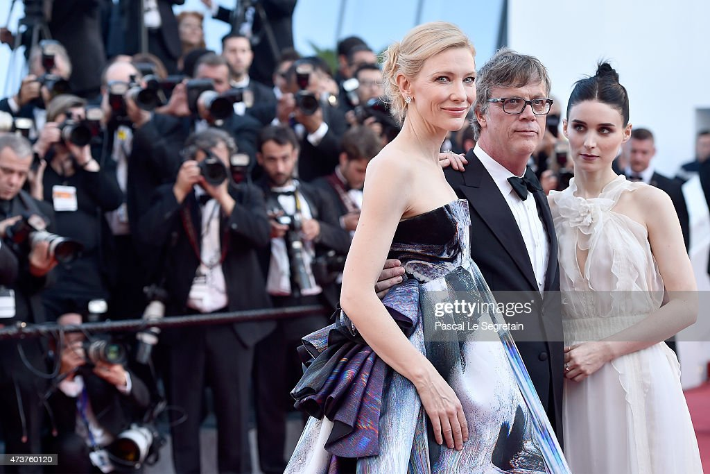 Actress Cate Blanchett, director Todd Haynes, and actress Rooney Mara attend the 'Carol' Premiere during the 68th annual Cannes Film Festival on May 17, 2015 in Cannes, France.