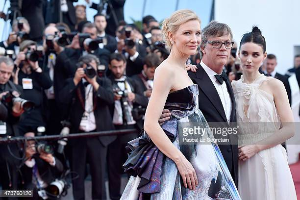 Actress Cate Blanchett director Todd Haynes and actress Rooney Mara attend the 'Carol' Premiere during the 68th annual Cannes Film Festival on May 17...