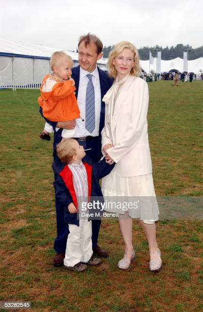 Actress Cate Blanchett husband Andrew Upton and their children Dashiell and Roman attend the Cartier International Day at Guards Polo Club Windsor...