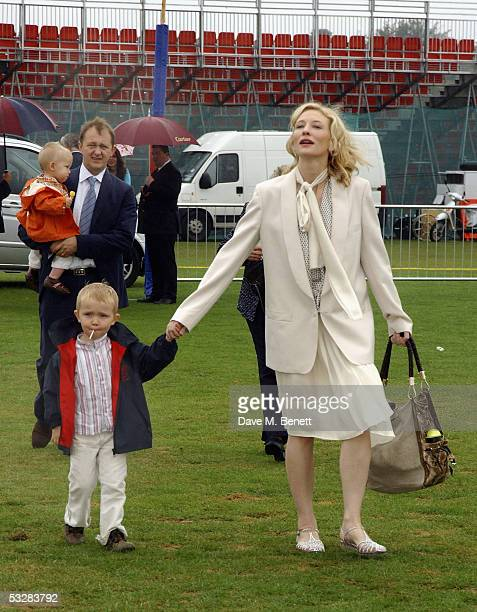 Actress Cate Blanchett husband Andrew Upton and their children Dashiell and Roman attend Cartier International Day at Guards Polo Club Windsor Great...