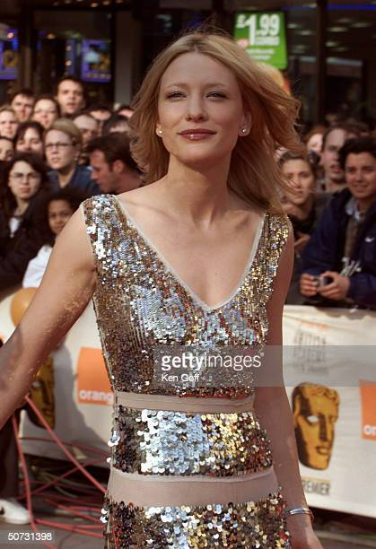 Actress Cate Blanchett in silver lowcut gown at the Bafta Awards the British Oscars at the Odeon Leicester Square