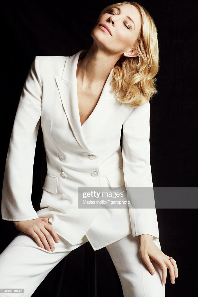 Actress Cate Blanchett is photographed for Madame Figaro on May 18, 2015 at the Cannes Film Festival in Cannes, France. Suit (Giorgio Armani). PUBLISHED IMAGE.
