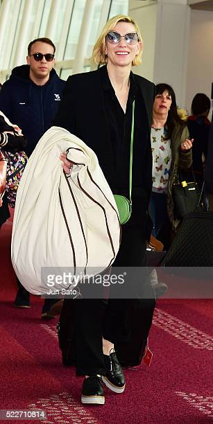 Actress Cate Blanchett is seen upon arrival at Haneda Airport on April 21 2016 in Tokyo Japan