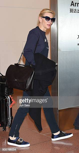 Actress Cate Blanchett is seen upon arrival at the Haneda Airport on January 20 2016 in Tokyo Japan