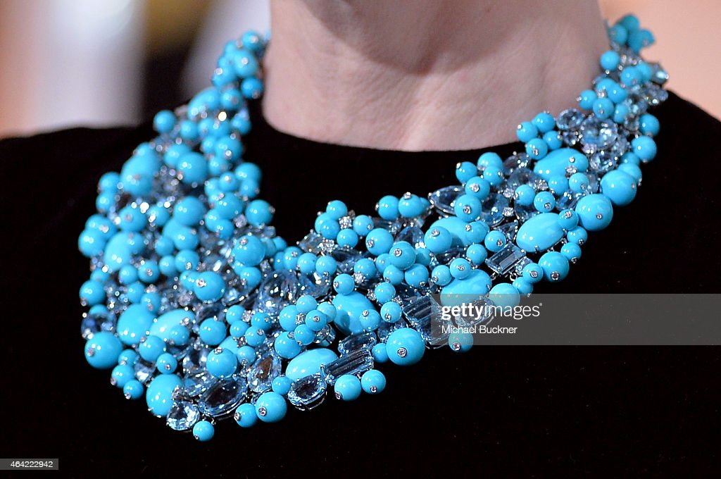 Actress Cate Blanchett, jewelry detail, attends the 87th Annual Academy Awards at Hollywood & Highland Center on February 22, 2015 in Hollywood, California.