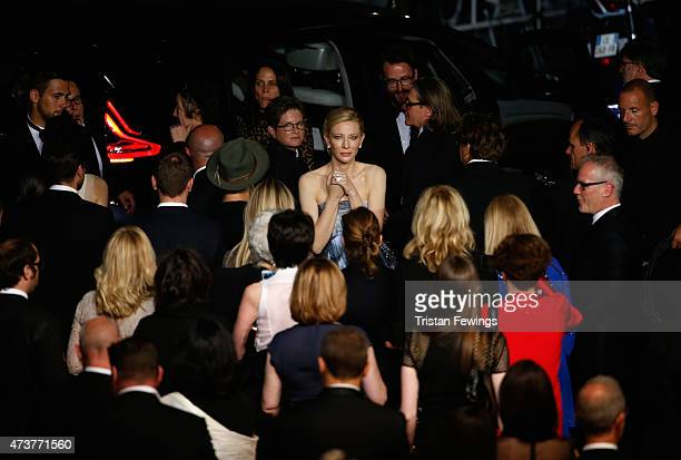 Actress Cate Blanchett leaves the Carol Premiere during the 68th annual Cannes Film Festival on May 17 2015 in Cannes France