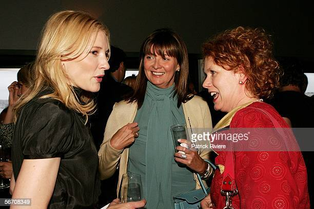Actress Cate Blanchett Media Personality Karen UptonBaker and Elizabeth Ann Macgregor Director Museum of Contemporary Art attend the relaunch for the...