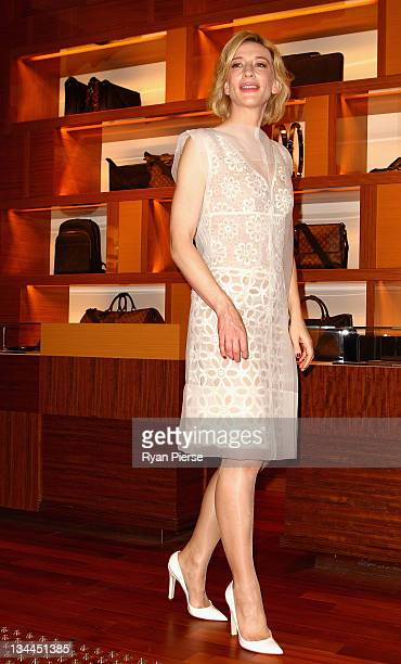 Actress Cate Blanchett poses at the opening of the Louis Vuitton Maison at King and George streets on December 2 2011 in Sydney Australia The Sydney...