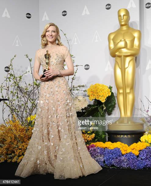 Actress Cate Blanchett poses in the press room at the 86th annual Academy Awards at Dolby Theatre on March 2 2014 in Hollywood California