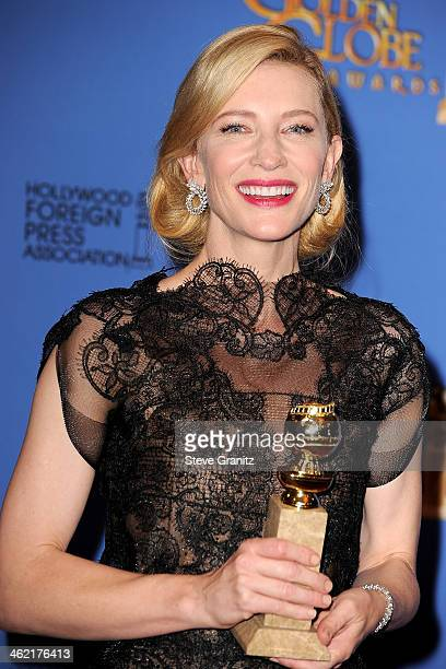 Actress Cate Blanchett poses in the press room during the 71st Annual Golden Globe Awards held at The Beverly Hilton Hotel on January 12 2014 in...